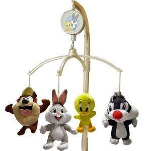 Looney Tunes Bugs Bunny Taz Tweety Bird & Sylvester Musical Mobile NIB