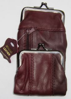 Burgundy Wine Genuine Leather Cigarette Case Pouch Snap Zipper Pockets