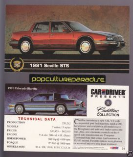 1991 Cadillac Seville STS Eldorado Biarritz Spec Card