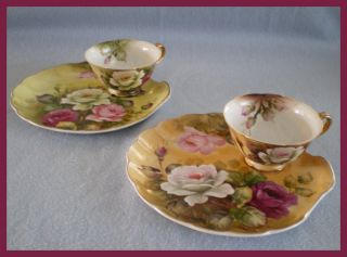 Five Lefton China Hand Painted Tea Cup and Plate Sets Hostess Snack