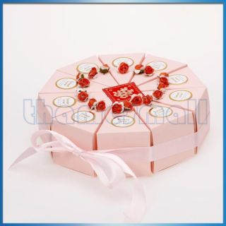 Wedding Favor Box Pink Ribbon Cake Slice Boxes Baby Shower w Cute