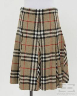Burberry London Tan Nova Check Wool A Line Skirt Size US 6