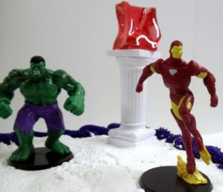 Super Hero Birthday Cake Topper Set w Hulk, Captain America, Iron Man