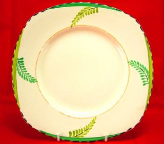 1932 ART DECO HAND PAINTED BURLEIGH WARE FERN 9 PLATE   GORGEOUS