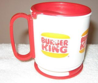 Vint Burger King Travel Dashboard Mount Plastic Coffee Mug Cup Whirey