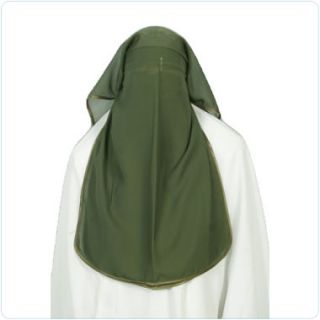 Green Satin Niqab Veil Burqa Face Cover Hijab Abaya