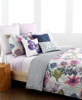 Style&Co Butterfly Garden Print Twin Sheet Set Purple / White NEW