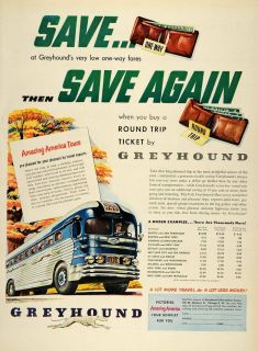 1950 Ad Greyhound Bus Ticket Round Trip Fares Price America Tours One