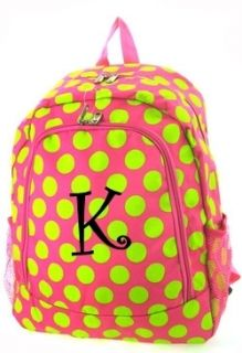 Personalized Backpack Book bag tote pink lime green polka dots NEW