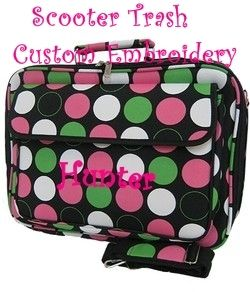Personalized 17 Computer Laptop Case Bag Lime Pink Polka Dots New