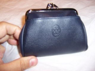 buxton navy triple frame leather coin purse