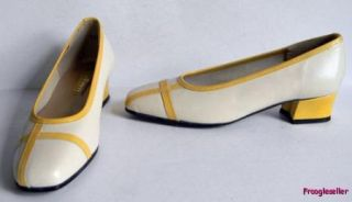 California Magdesians Womens Low Heels Shoes 6 w Bone Yellow Leather