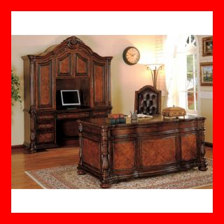 Formal Cherry Brown Solid Wood Executive Office Desk Furniture