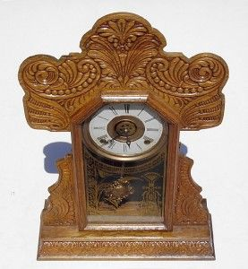 Antique Fancy Golden Oak Kitchen Clock with Key BUTLER BROTHERS N.Y