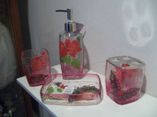 New Glass 4 Piece Bathroom Accessory Set Retro Floral Butterfly