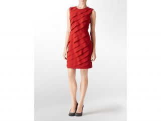 Calvin Klein Womens Petites Diagonal Ruffle Dress