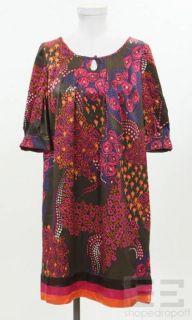 Christiane Celle Calypso Brown Multicolor Silk Shift Dress Size Medium