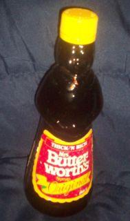 Vintage Brown Glass Mrs Butterworths Syrup Bottle Original Yellow Cap