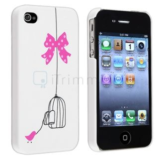 Bird Cage Pink White Rubberized Hard Case Home Button Sticker for