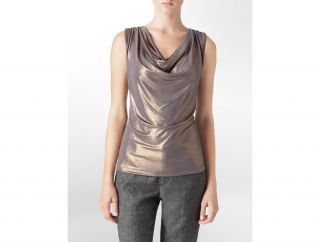 Calvin Klein Womens Metallic Cowlneck Tank Top