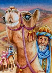 ACEO Original Christmas Watercolor Magi Wise Men Camel Star Bethlehem