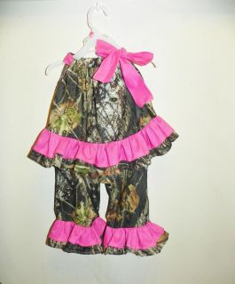 Mossy Oak Camo Camouflage Toddler Girl Outfit Set Pink Shirt Top Pants
