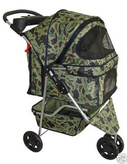 All Terrain Camouflage Pet Dog Cat Stroller w Raincover