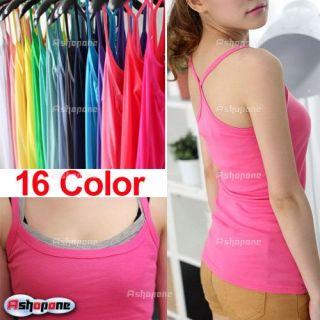 New Womens Ladies Sleeveless Tank Top Cami Spaghetti Strap Vest Slim T