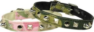 Dog Pet Puppy Camouflage Army Spike Pyramid Collar Camo