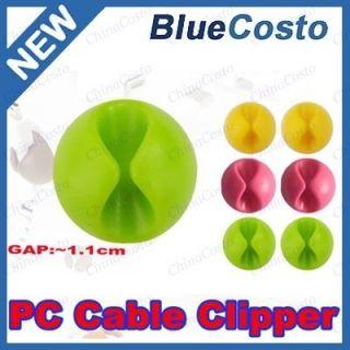6X Computer USB Cable Cord Wire Clip Holder Line Fixer