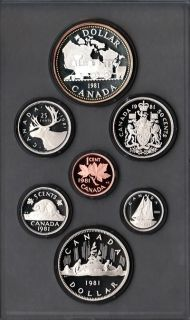 1981 Canadian 7 Coin Double Dollar Proof Set Voyag Silver Train