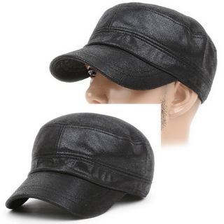 Cadet Box Cap Hat Military Soft Leather Style Cul Black