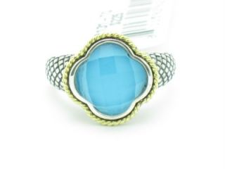 Andrea Candela 18kt and Sterling Silver Doublet Turquoise Clover Ring