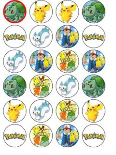 24 x Pokemon Rice Paper Birthday Cake Toppers