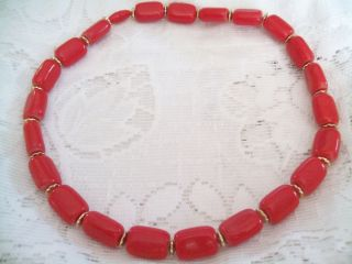 Vintage Candy Apple Red Plastic Beads Goldtone Disc 18 Necklace Hide