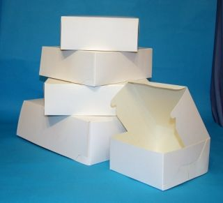 10 Small White Cake Gift Boxes 6x6x2 5""