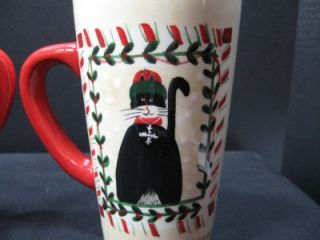 Sakura Fiddlestix Candy Cane Cats Christmas Latte Mug Coffee Tall Pair