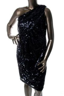 Calvin Klein New Black Sequined One Shoulder Cocktail Evening Dress