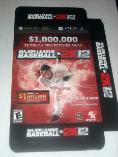 Major League Baseball 2K12 MLB Promo Game Display Big Box Xbox 360