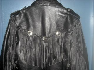 Biker Leather Stuff Womens Ladies Jacket Coat with Fringes Conchos and