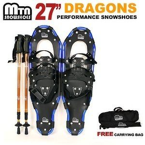 New MTN 27 WP BLUE All Terrian Snowshoes GOLD Nordic Pole Free