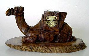 Vintage Hand Carved Olive Wood Figural Camel Ink Well
