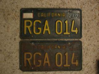 1963 Set Pair California License Plates CA
