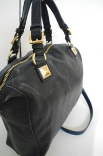 Michael Kors Calista Large Navy Blue Leather Satchel Handbag