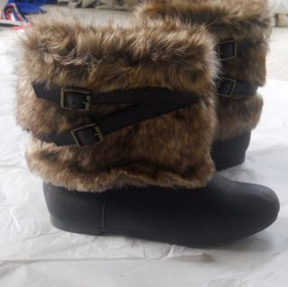 Candies Girl Stylish Brown Faux Fur Ankle Boots Size 4