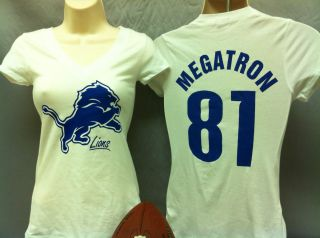 Sm L Womens Detroit Lions shirt Ladies Calvin Johnson girl tshirt tee