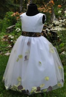 New Camo Flowergirl Dress Satin Camo Petal Colors