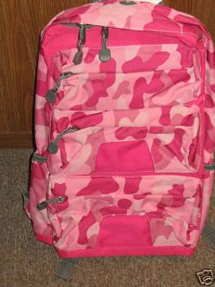 Girls Pink Camo Backpack with Media Player pocket NWT