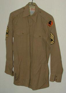 1950's U s Army Khaki Uniform Shirt w Insignias