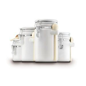 Piece Ceramic Canister Set Kitchen Canisters Lid New